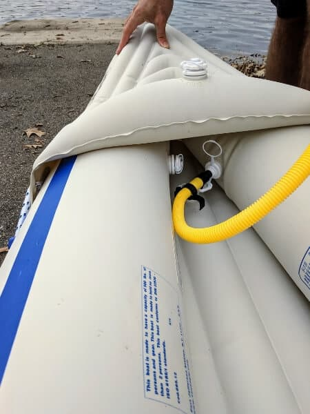 close up picture of the bow of the Sea Eagle 330 inflatable kayak