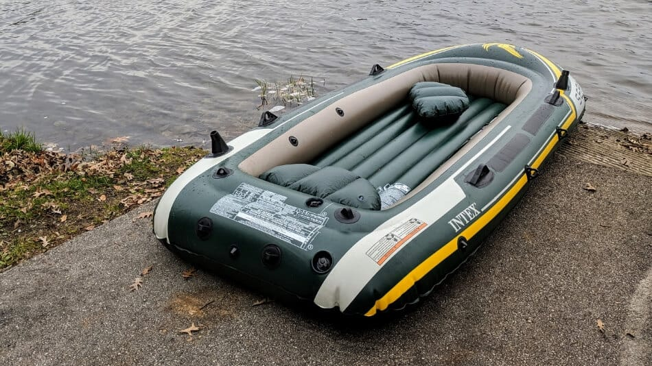 picture of a Seahawk 4 inflatable boat on a boat landing
