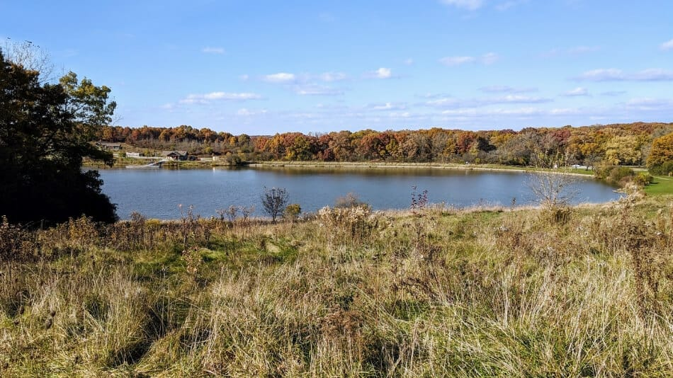 view from a distance of a small public lake in illinois