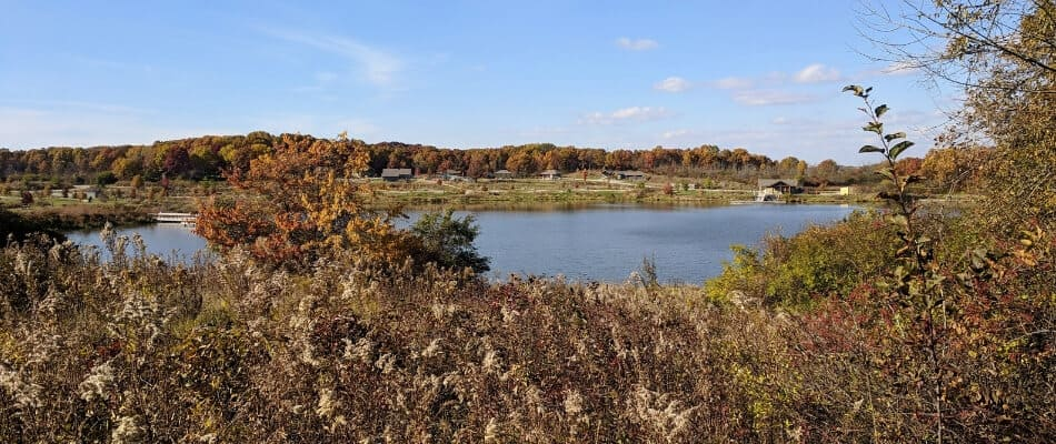 distant view of a small lake in the fall