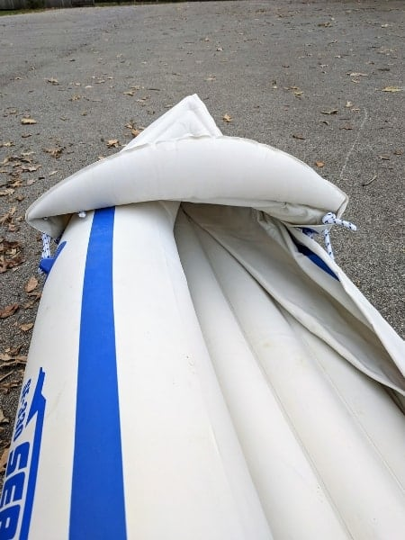 view of the front of the inflatable kayak