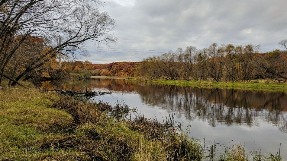view of a small river in fall from the bank on a cloudy day