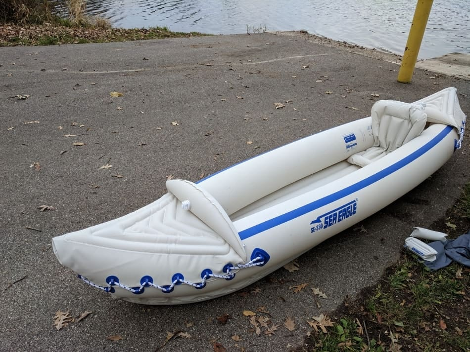 inflatable kayak on boat landing