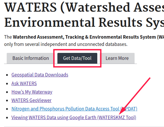 screenshot of epa waters tool website, focused on the get data/tool tab