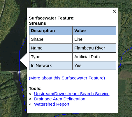 screenshot of epa waters tool data window for a river