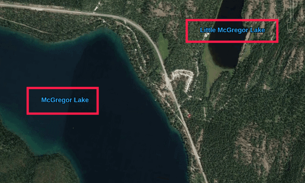 google earth lake labels highlighted with red boxes
