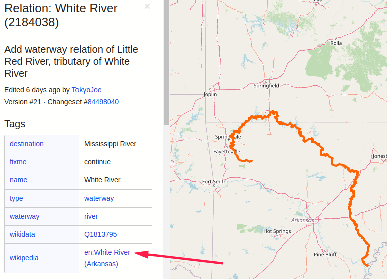 full length of white river highlighted with openstreetmap