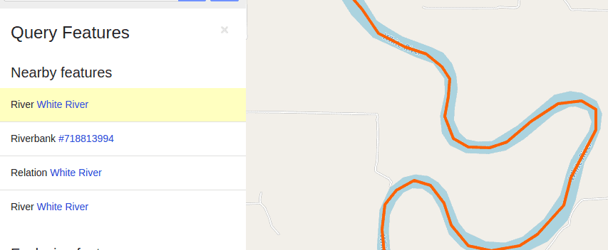 query results on openstreetmap with highlighted river on the right